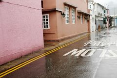 Hong Kong Shek o village street scenery at rainy day. Hong Kong Shek o village street scenery stock image
