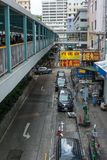 Hong Kong shop footbridge traffic street Royalty Free Stock Images