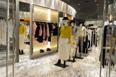 Hong Kong shopping mall interior. HONG KONG - JUNE 01, 2015: Hong Kong shopping mall interior. Hong Kong shopping malls are some of the biggest and most Stock Images