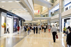 Hong Kong shopping mall interior. HONG KONG - MAY 05, 2015: Hong Kong shopping mall interior. Hong Kong shopping malls are some of the biggest and most Royalty Free Stock Images