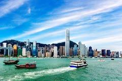 Hong Kong sikt av Victoria Harbor Royaltyfria Foton