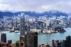 Hong Kong sikt av Victoria Harbor, Arkivfoto