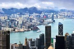 Hong Kong sikt av Victoria Harbor Arkivfoto