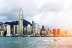 Hong Kong sikt av Victoria Harbor, Royaltyfria Foton