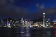 Hong Kong Skylight na paisagem do crepúsculo a sinfonia de Citys claro imagem de stock royalty free