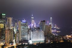 Hong Kong skyline. Hong Kong cityscape at night Royalty Free Stock Photography