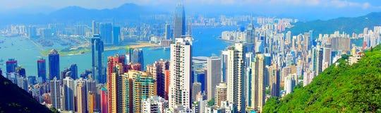 Hong Kong Skyline. Breathtaking panoramic view of hong kong skyline from victoria peak stock photography