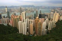 Hong Kong Skyline. A Panoramic Skyline of Hong Kong City from the Peak Stock Photo