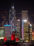 Hong Kong-Skyline am Abend mit einem Kramboot im Vordergrund lizenzfreies stockbild