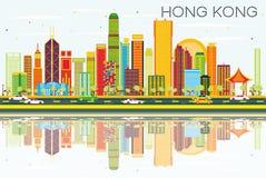Hong Kong Skyline abstrait avec les bâtiments de couleur, le ciel bleu et le Re illustration de vecteur