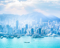 Hong Kong skyline aerial view at sunrise Royalty Free Stock Photography
