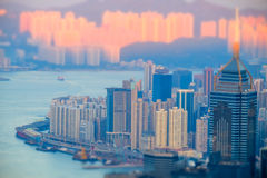 Hong Kong skyline aerial view at sunset. Tilt shift Stock Image
