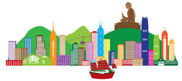 Hong Kong Skyline And Buddha Statue Color Vector Illustration Royalty Free Stock Image