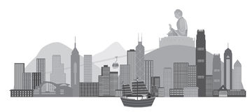 Hong Kong Skyline avec l'illustration iconique de vecteur de statue de bateau et de Bouddha d'ordure Photo stock