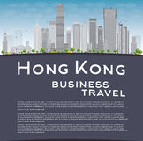 Hong Kong skyline with blue sky, taxi and copy space Royalty Free Stock Photos