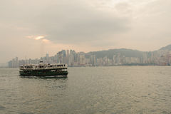 Hong Kong skyline with boat Stock Photos