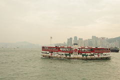 Hong Kong skyline with boat Royalty Free Stock Photo