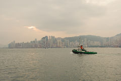 Hong Kong skyline with boat Stock Images