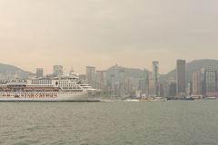Hong Kong skyline with boat Royalty Free Stock Image