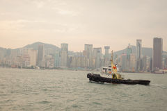 Hong Kong skyline with boat Royalty Free Stock Photography