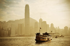 Hong Kong skyline with boats Royalty Free Stock Photo