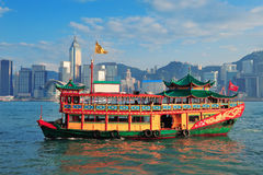Hong Kong skyline with boats Royalty Free Stock Photos