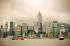 Hong Kong skyline with boats Stock Photography