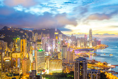Hong kong Skyline from braemar hill Royalty Free Stock Images