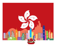 Hong Kong Skyline and Buddha Statue in HK Flag Vector Illustration Stock Image