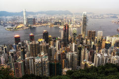 Hong Kong skyline. Central and Soho area viewed from on top of Victoria Peak royalty free stock image