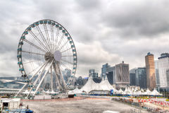 Hong Kong Skyline chez Pier Overlooking Victoria Harbor central Photos libres de droits