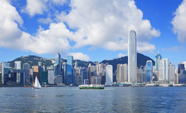 Hong Kong skyline. With clear blue sky royalty free stock image