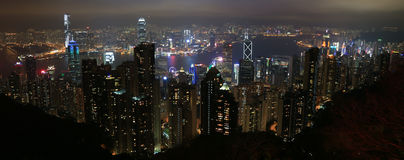 Hong Kong Skyline dall'altro lato di Victoria Peak Immagini Stock Libere da Diritti