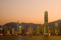Hong Kong skyline at dusk Royalty Free Stock Photo