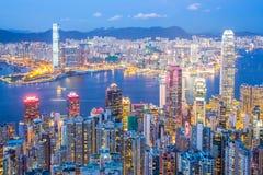 Hong Kong Skyline at Dusk Stock Photos
