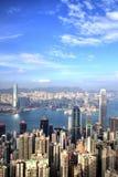 Hong Kong Skyline en la puesta del sol en Sunny Day Imagen de archivo