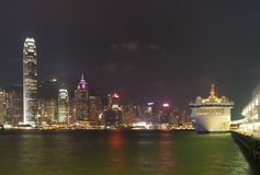 Hong kong skyline at evening Stock Photos