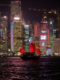 Hong Kong skyline at evening with a junk boat in the foreground. Kowloon, Hong Kong - November 2, 2017: Hong Kong skyline at evening with a junk boat in the royalty free stock photography