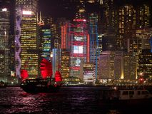 Hong Kong skyline at evening with a junk boat in the foreground.  stock photos