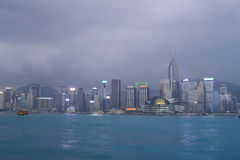 Hong Kong skyline in the evening Stock Image
