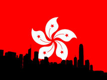 Hong Kong skyline with flag Royalty Free Stock Photos