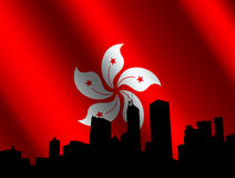 Hong Kong skyline with flag Royalty Free Stock Photography