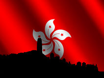 Hong Kong skyline with flag Royalty Free Stock Photo