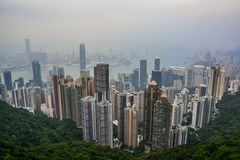 Hong Kong Skyline with fog - the Peak. The famous Hong Kong Skyline with fog, from the Peak Stock Image