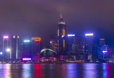 Hong Kong skyline at a foggy night. HONG KONG - MARCH 06 : The Hong Kong skyline at a foggy night on March 06 2018 Royalty Free Stock Photos