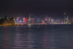 Hong Kong Skyline am frühen Abend der Dämmerung stockbilder