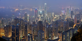 Hong Kong Skyline From Victoria Peak At Night Stock Photo