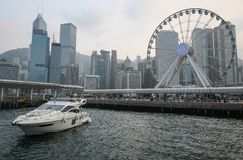 Hong Kong skyline from the habour stock images