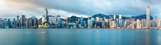 Hong Kong skyline. In the morning over Victoria Harbour, Hong Kong China stock photo