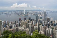 Hong Kong Skyline. View from the peak stock image